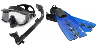 beginner scuba gear package mask = fins